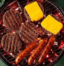 hamburger and hotdogs on a grill