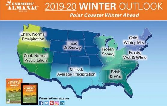 Farmers' Almanac map
